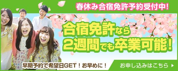 春休み合宿免許予約受付中!